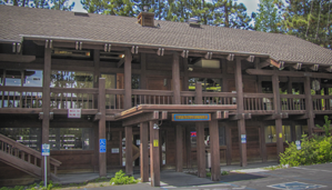 Two story brown Tahoe City library facade