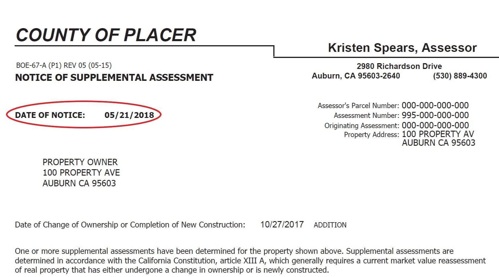 Notice of Supplemental Assessment