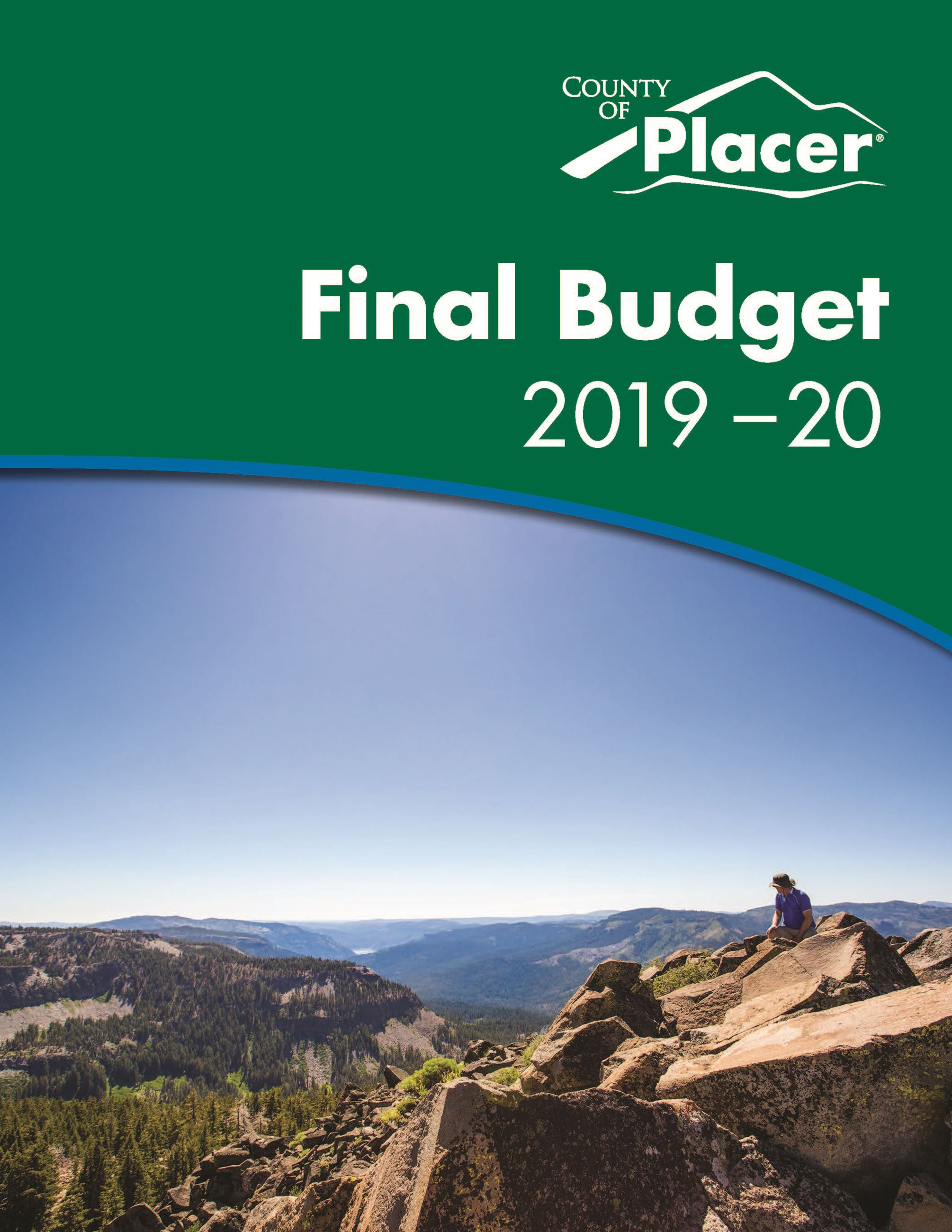 Cover image of County final budget book for fiscal year 2019-20 with an image of a man sitting atop