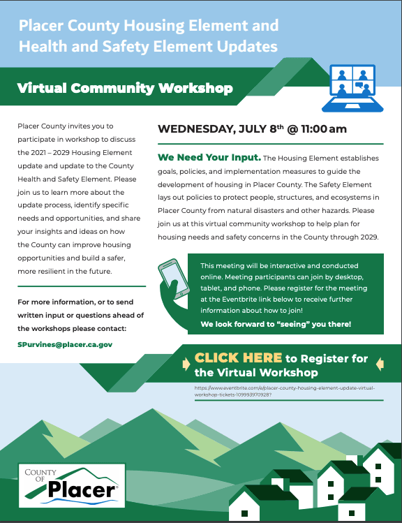 Placer County Housing Element Virtual Meeting July 8 Opens in new window
